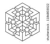 exploded cube   impossible... | Shutterstock .eps vector #1186803022