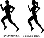 silhouette man and woman... | Shutterstock .eps vector #1186811008