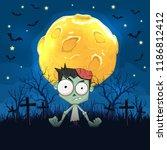 halloween background. zombie... | Shutterstock .eps vector #1186812412