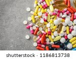many different pills on grey... | Shutterstock . vector #1186813738