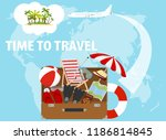 banner time to travel  traveler'... | Shutterstock .eps vector #1186814845