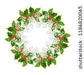 christmas wreath with bright... | Shutterstock .eps vector #1186820065
