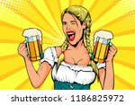germany girl waitress carries... | Shutterstock .eps vector #1186825972