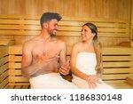 happy couple having a steam... | Shutterstock . vector #1186830148