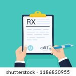 man hold rx prescription form.... | Shutterstock .eps vector #1186830955