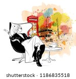 fashion woman with cup of tea... | Shutterstock . vector #1186835518