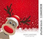 Reindeer Red Hat Snow Snowflak...