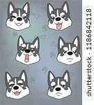 dog husky puppy illustration.... | Shutterstock . vector #1186842118