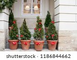 decorated with red bows and... | Shutterstock . vector #1186844662
