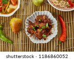 spicy szechuan chicken ... | Shutterstock . vector #1186860052