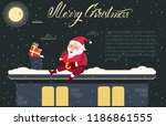 merry christmas card with santa ... | Shutterstock .eps vector #1186861555