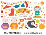 big autumn set with cute... | Shutterstock .eps vector #1186863898