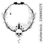 vector frame with death head  ... | Shutterstock .eps vector #1186865275