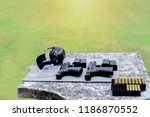 shooting range. gun  bullets ... | Shutterstock . vector #1186870552