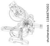 mitre saw blade concept. vector ... | Shutterstock .eps vector #1186874302