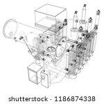 high voltage transformer... | Shutterstock .eps vector #1186874338