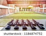 shooting range. m16 gun is on... | Shutterstock . vector #1186874752