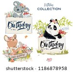 collection with cute birthday... | Shutterstock .eps vector #1186878958