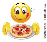 hungry smiling ball looking at... | Shutterstock .eps vector #1186881862