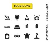 sunny icons set with sand with...