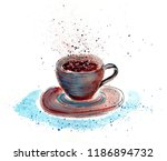 watercolor drawing of a brown...   Shutterstock . vector #1186894732