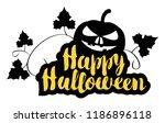 happy halloween lettering with... | Shutterstock .eps vector #1186896118