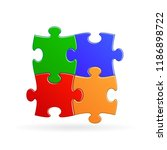 vector puzzle of four pieces of ...   Shutterstock .eps vector #1186898722