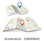 folded maps with color point... | Shutterstock .eps vector #118690642