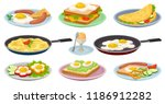 tasty dishes with eggs set ... | Shutterstock .eps vector #1186912282