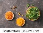fresh organic micro greens with ... | Shutterstock . vector #1186913725