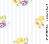 hand painted watercolor floral...   Shutterstock . vector #1186915615
