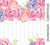 hand painted watercolor floral...   Shutterstock . vector #1186915618