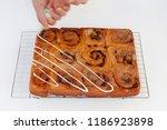 freshly baked chelsea buns...   Shutterstock . vector #1186923898