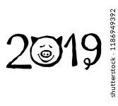2019 number. pig's head. sketch ... | Shutterstock .eps vector #1186949392