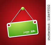 green hanging sign on red...   Shutterstock .eps vector #118695532
