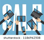 sale computing concept. hands... | Shutterstock .eps vector #1186962508