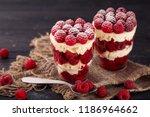 trifle raspberry dessert  | Shutterstock . vector #1186964662