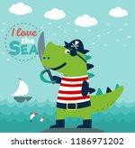 funny dinosaur in pirate costume   Shutterstock .eps vector #1186971202