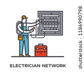 electrician conducts... | Shutterstock .eps vector #1186990798