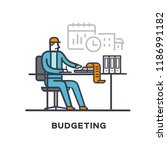 accountant is the budget of... | Shutterstock .eps vector #1186991182