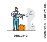 worker drills a wall. stages of ... | Shutterstock .eps vector #1186991188