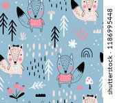 seamless pattern with cute... | Shutterstock .eps vector #1186995448