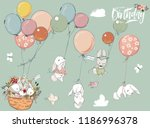 Stock vector little hares collection with balloon 1186996378
