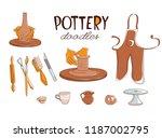 clay pottery workshop studio... | Shutterstock .eps vector #1187002795