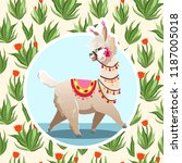 illustration with llama and... | Shutterstock .eps vector #1187005018