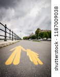 budapest footpath big sign... | Shutterstock . vector #1187009038