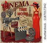 cinema retro poster. | Shutterstock . vector #1187017342