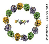 bright skulls. halloween party. ... | Shutterstock .eps vector #1187017555