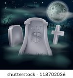 A grave in a graveyard with RIP and a dollar sign on it. Economy or financial concept. - stock vector