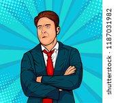 gloomy caucasian male frowns... | Shutterstock . vector #1187031982